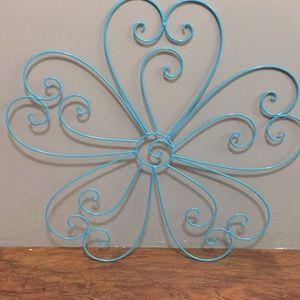 Aqua metal flower wall art